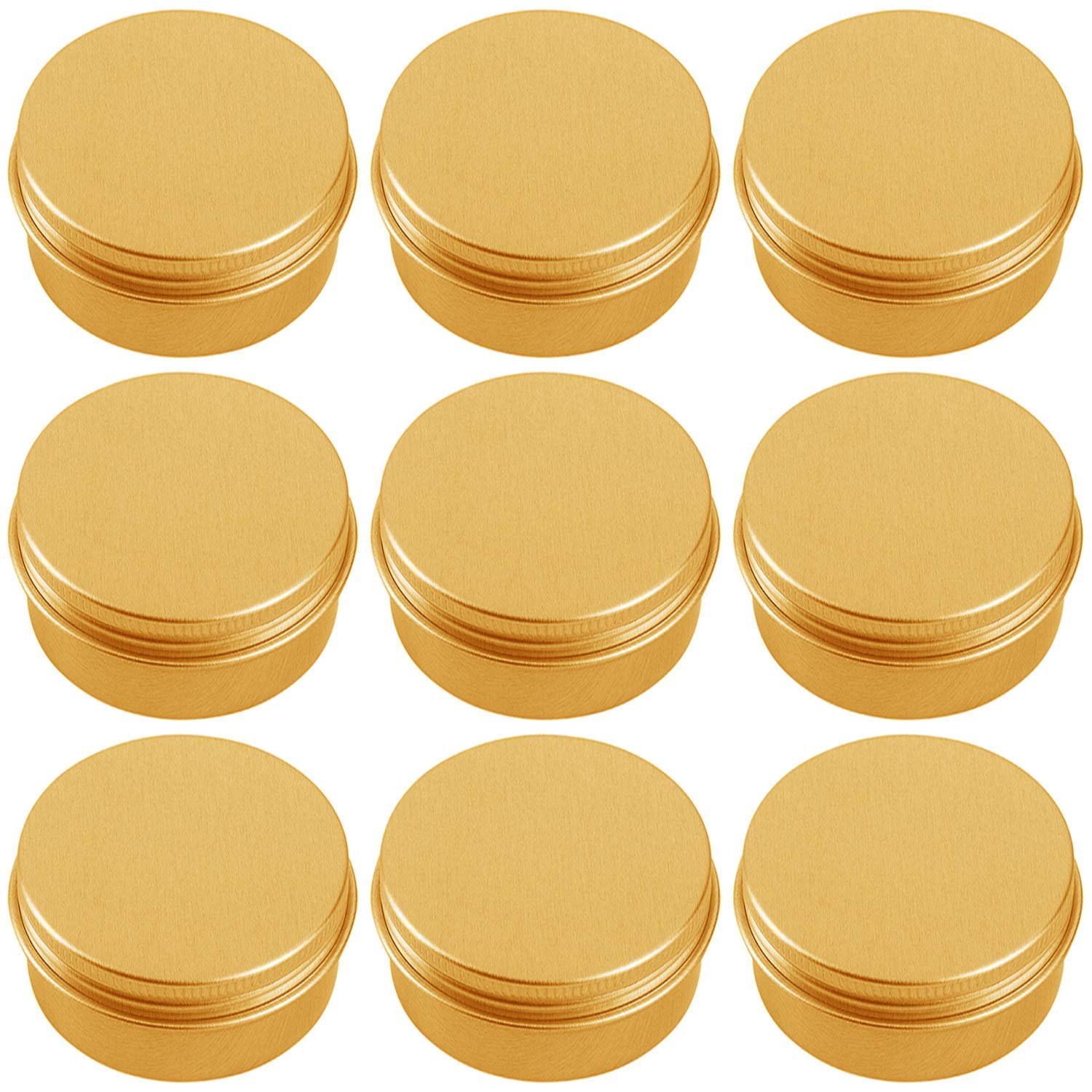 Hulless Aluminum Tin Jar 2 Oz Refillable Containers 60ml, Cosmetic small tin, Aluminum Screw Lid Round Tin Container Bottle for Candle, Lip Balm, Salve, Eye Shadow, Powder, 10 Pcs Gold Color.