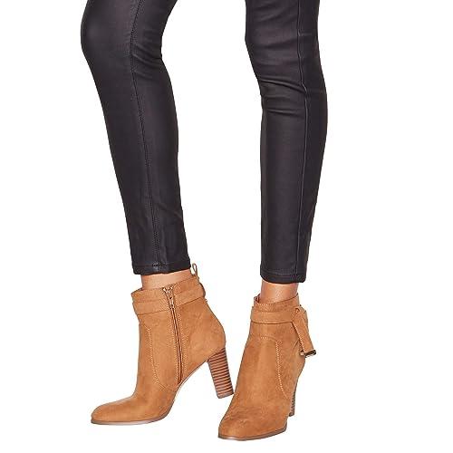 37ff82cb56 Principles Womens Tan Suedette 'Cece' Heeled Ankle Boots 6: Amazon ...