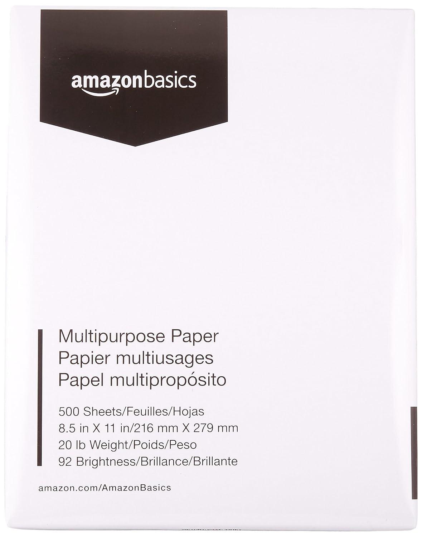 5 Ream Case 8.5 x 11 Inches Basics 92 Bright Multipurpose Copy Paper 2,500 Sheets