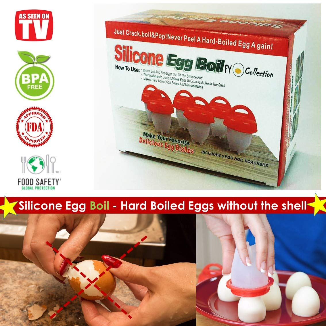 Egg cooker hard - boiled eggs without the shell as seen on TV, Hard Egg cooker set of 6 non-stick silicone egg cups, poached eggs maker