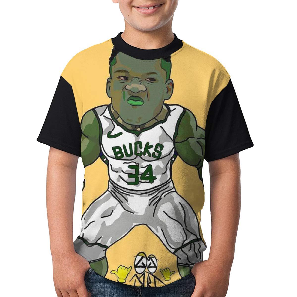 goAgoo Antetokoumpo Bucks Short Sleeve Tee for Boys Kids Youth Logo on Shirt