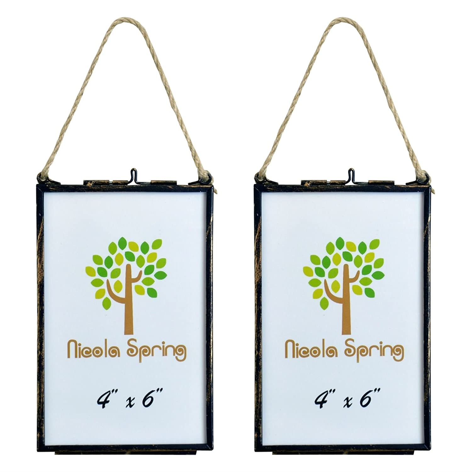 Pack Of 2 Nicola Spring Hanging Glass Vintage Photo Frame With Rope 4x6 Photos