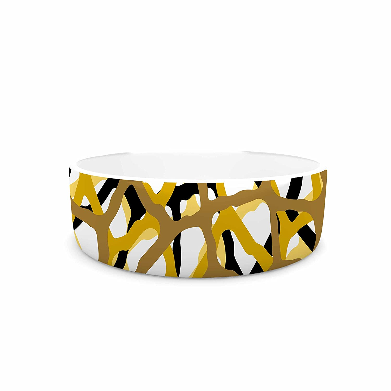 KESS InHouse Trebam Staklen V.2 gold Black Digital Pet Bowl, 7  Diameter