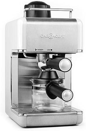 Oneconcept Sagrada Blanca cafetera Espresso de Acero Inoxidable (800 W, 3,5 Bar, Acero Inoxidable, para 4 Tazas, Desmontable, Incluye Jarra de Cristal) - Blanco: Amazon.es: Hogar