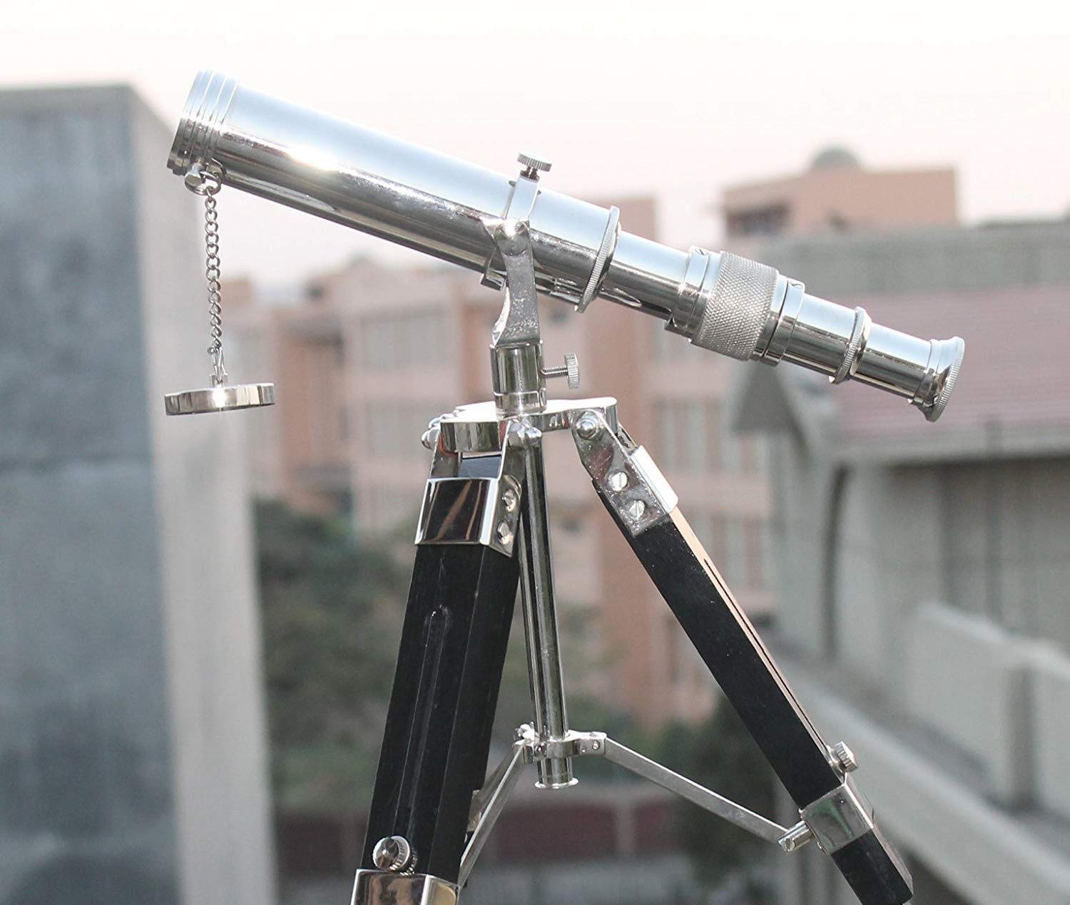 Arsh Nautical Brass Antique Chrome Telescope Double Barrel with Black Tripod Stand A