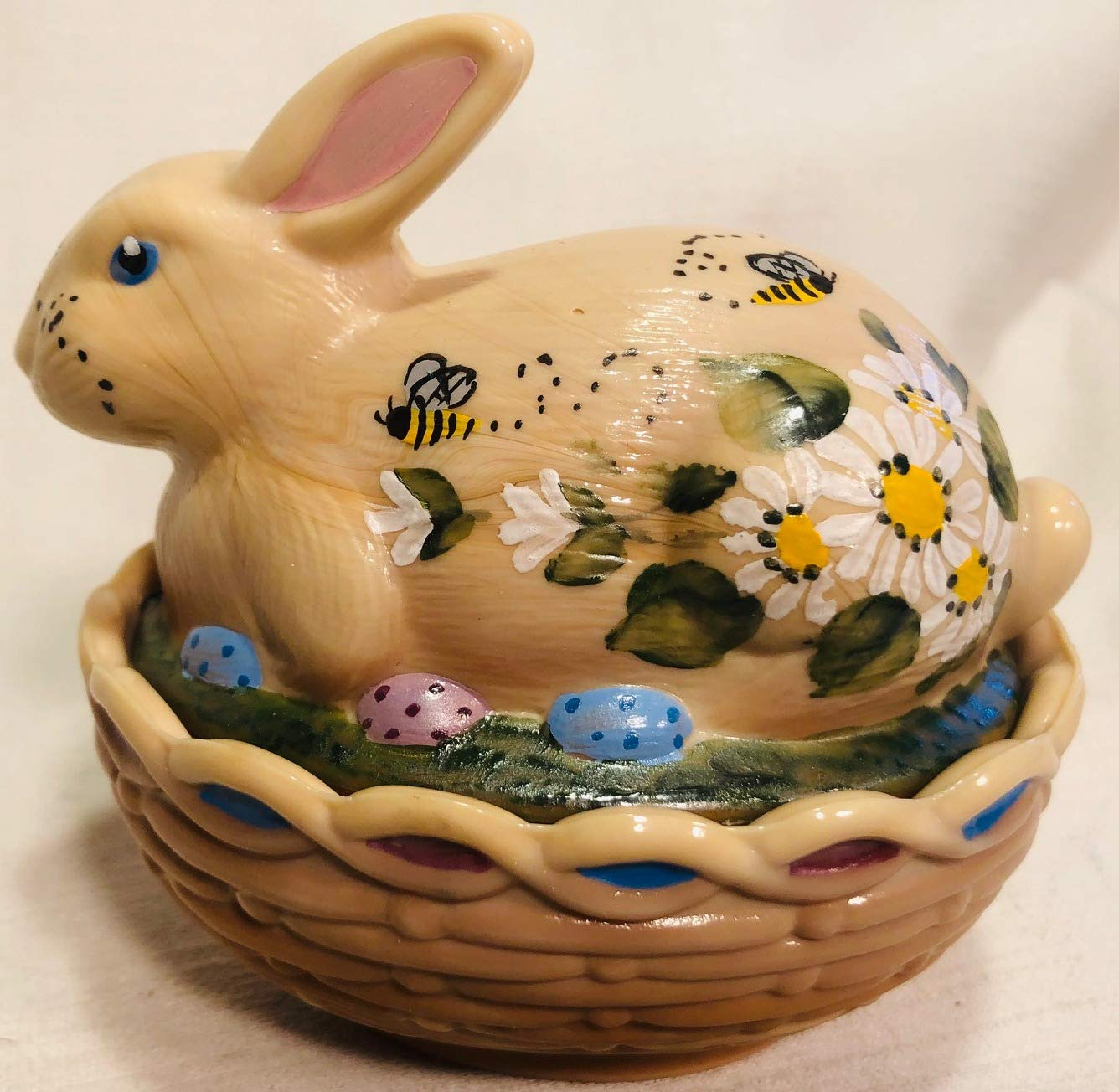 Glass Easter Bunny Rabbit on Covered Dish Mosser Glass (Chocolate Handpainted)