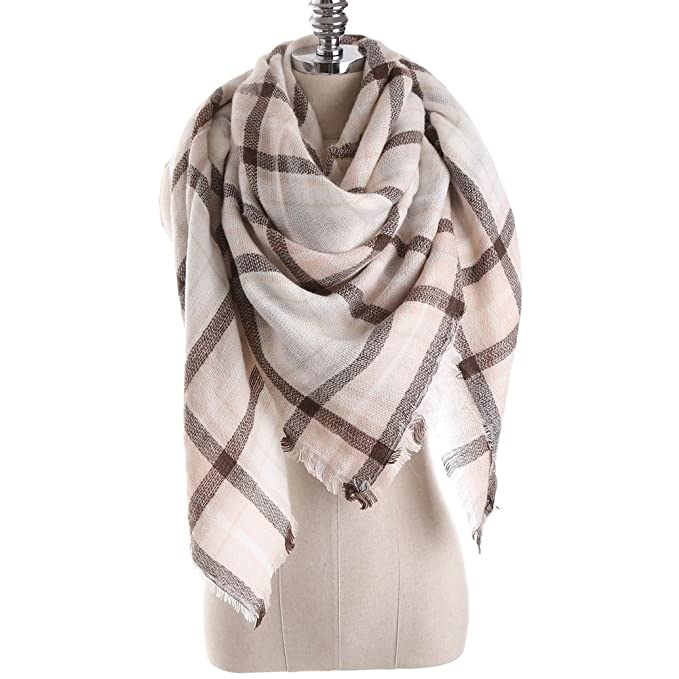 0b325166cc Women s Winter Soft Plaid Tartan Checked Scarf Large Blanket Wrap Shawl  Beige-pink 140 by