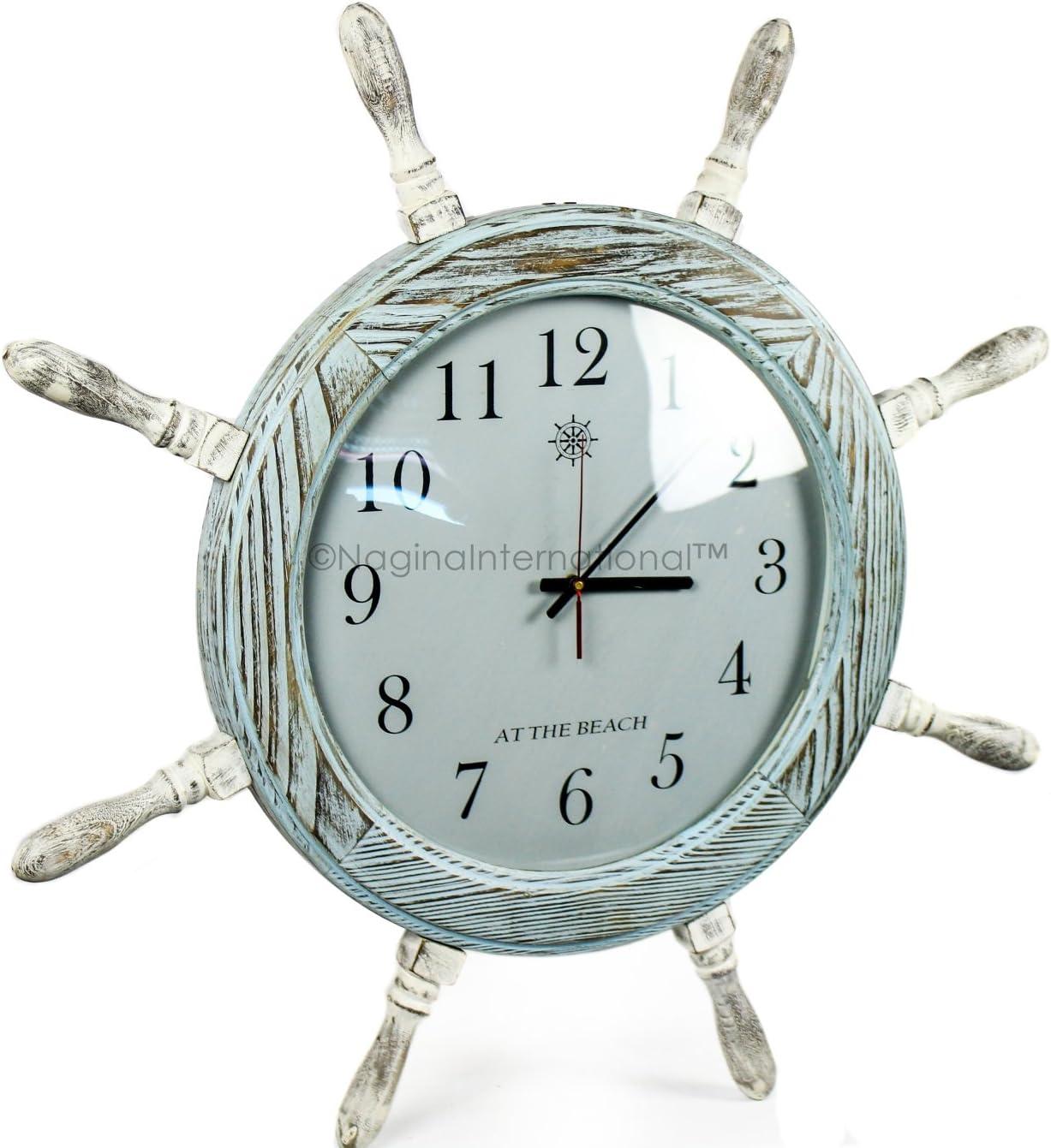 Nagina International 28 Inches Large Premium Pine Wood Nautical Ship Wheel Vintage Clock | Pirate's Gift | Beach Home Decor