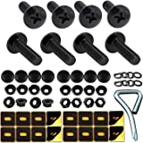 Aootf Black License Plate Screws Fastener Kit -M6 Machine License Bolts with Black Screw Covers and Anti-Rattle Foam Plates f