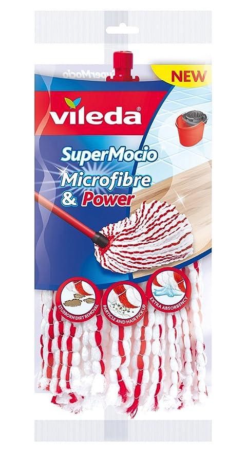 Vileda SuperMocio Microfibre & Power Repuesto de fregona, Textil, Rojo/Blanco, 25