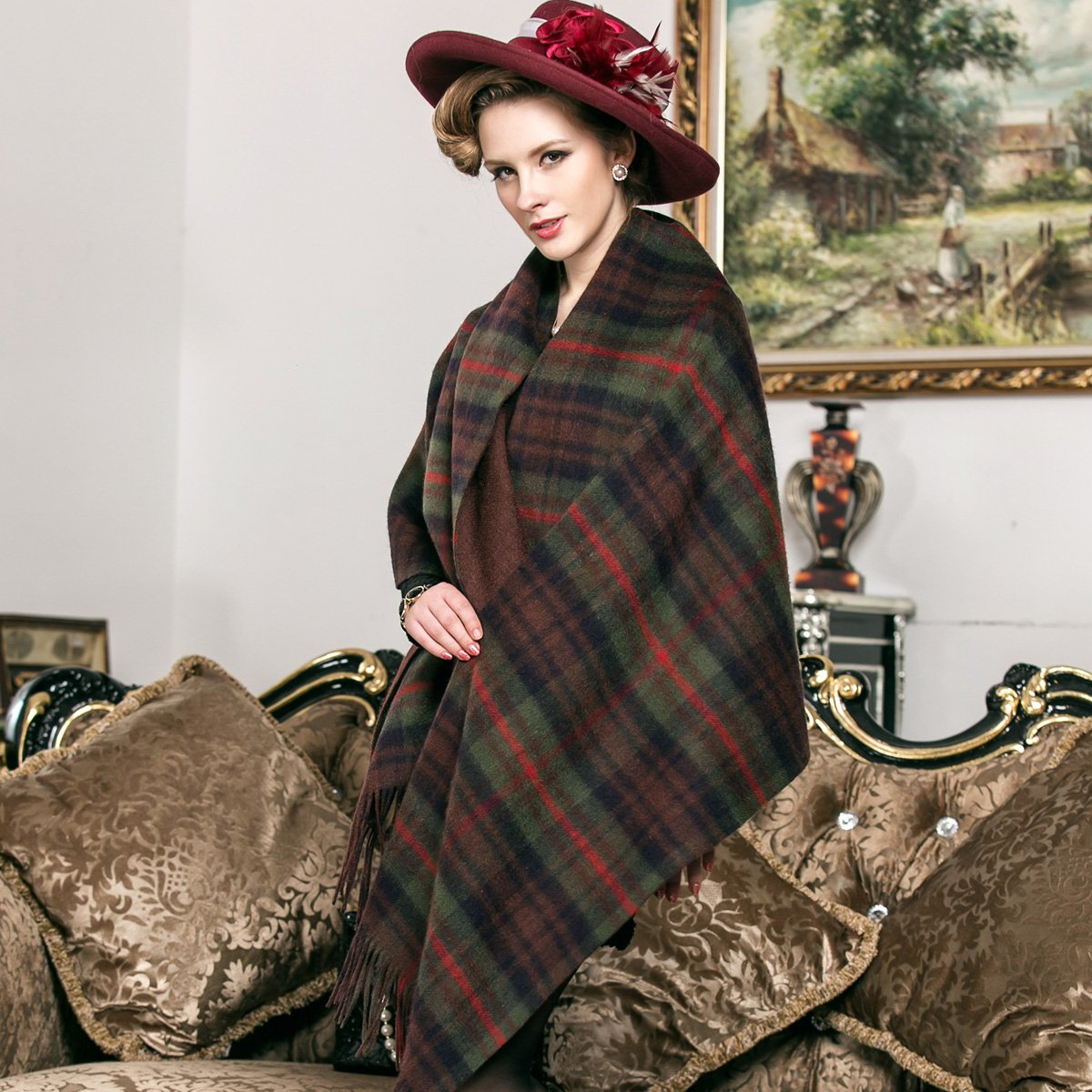 Lady's Plaid Wool Scarf and scarf with super thickening winter and autumn scarf