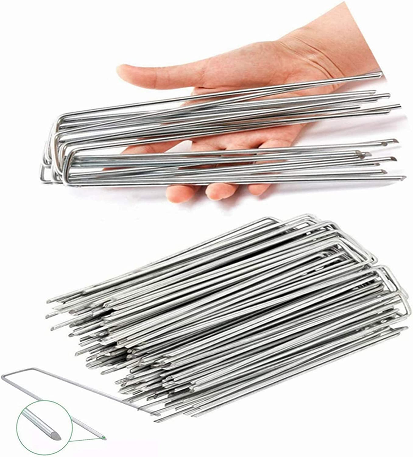 20PCS Garden Stakes Rust Resistant 8 Inch 4MM Diameter Landscape Staples Heavy-Duty Garden Staples U-Shaped Galvanized Garden Stakes for Installation of Turf Ground Plant Stakes (Stainless Steel)