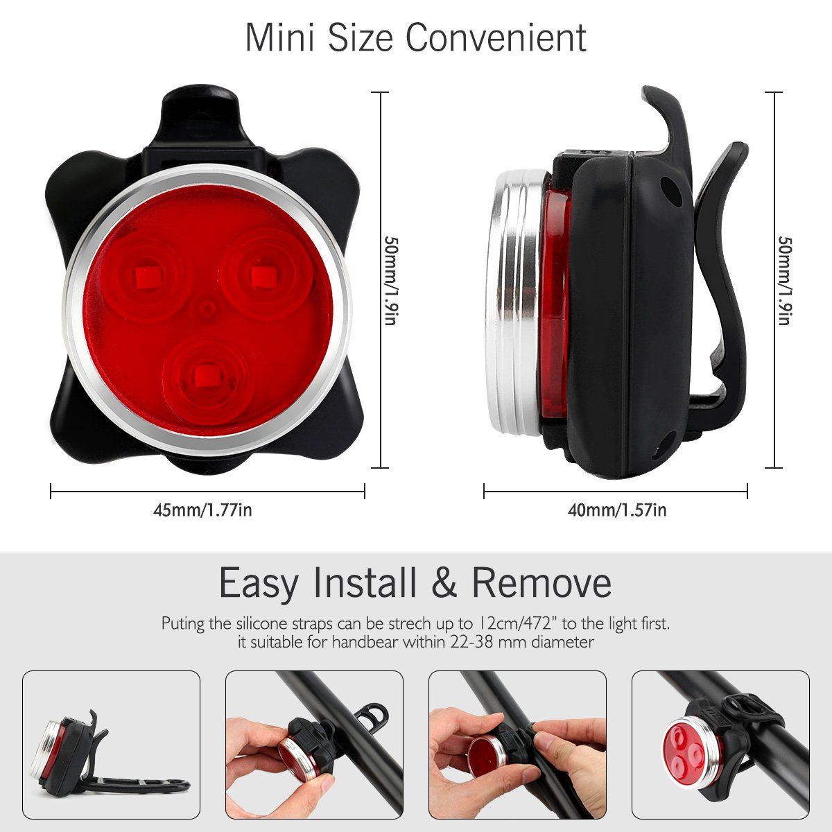 SOKLIT USB Rechargeable Bike Light Front and Rear Waterproof IPX4 Super Bright Bicycle LED Light Set 120 Lumen with 650mah Lithium Battery, 4 Light Mode Options, Including 6 Strap and 2 USB Cables by SOKLIT (Image #3)