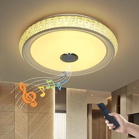 JDONG X5055SJ-36W-LY - Lámpara de techo de intensidad regulable con mando a distancia y altavoz Bluetooth, 36 W, pantalla que imita el cristal (de ...