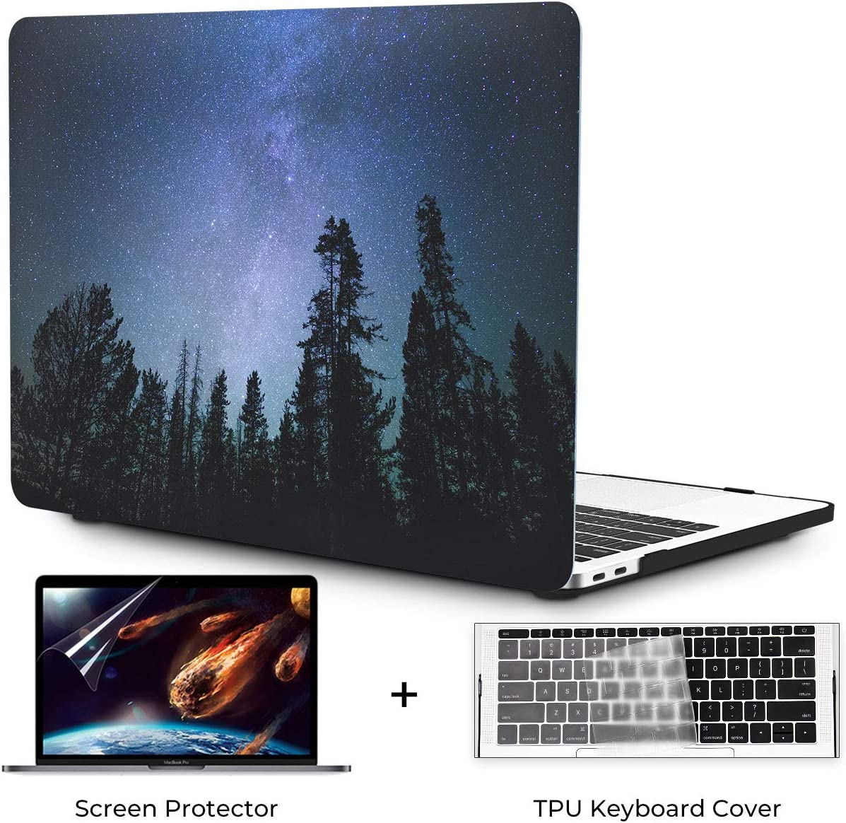 OneGET MacBook Pro 13 Inch Case with Touch Bar Laptop Case MacBook Pro13 2016-2019 Release A2159 A1989 A1706 A1708 MacBook Cover for Cute MacBook Pro Case 13 Hard Shell Forest Starry (S5)