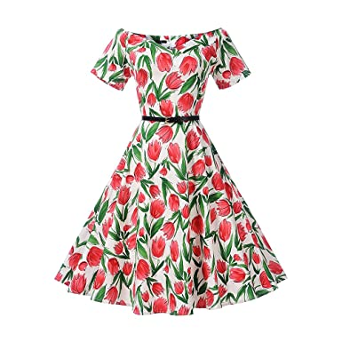 KeKeD23921 Womens Floral Print Belted Vintage Dress Short Sleeves Elegant 60s Summer Retro Dress For Party