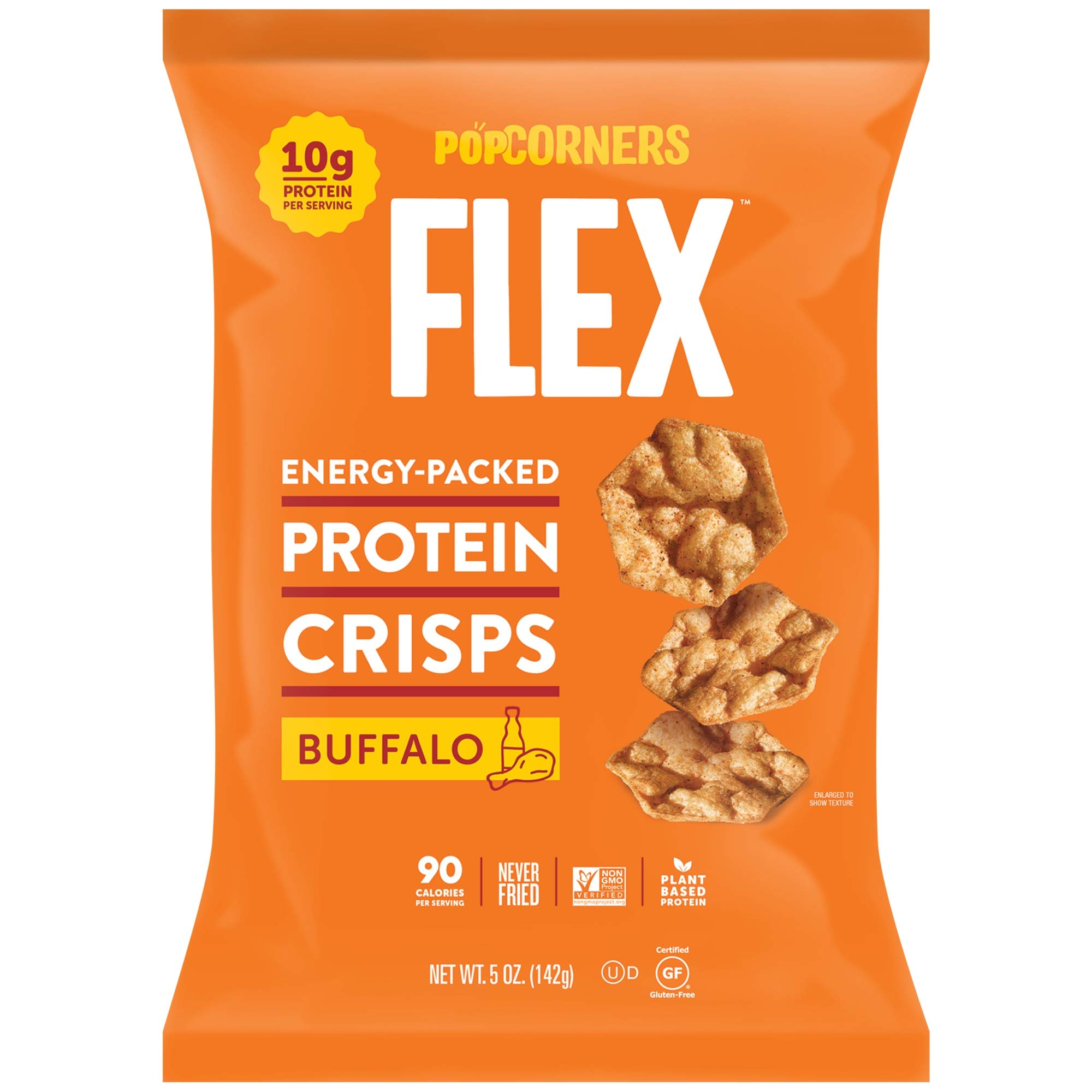 PopCorners Flex Buffalo Protein Crisps | Plant-Based Protein, Gluten Free Snacks| (12-Pack, 5 oz Snack Bags) by Flex