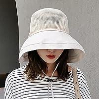 HAIPENG gorra Sombrero para el sol sombrero de playa UPF50 + Mujer Temporada de verano Algodón poliéster Sombrero de pescador Protección UV Protección solar Ensanchar el borde Tapa redonda Plegable Ajustable, 4 colores, 54-58cm Sombrero para el sol