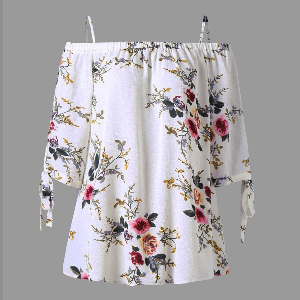 Fashion Women Summer Floral Print Off-Shoulder Blouses Ladies Long Sleeve Clothing Tops Casual Blouses Crop Tops Plus Size