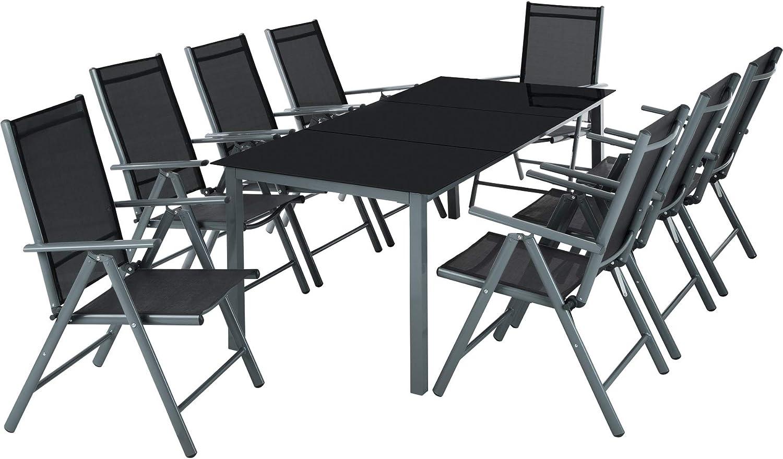 TecTake Aluminio Conjunto Muebles para Jardin 8+1 Silla Adjustable Mesa Cristal terraza (Gris Oscuro | No. 402164)