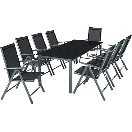 TecTake Aluminium 8+1 Salon de Jardin Ensemble sièges Meubles Chaise ...