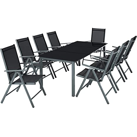 TecTake Aluminio Conjunto Muebles para Jardin 8+1 Silla Adjustable Mesa Cristal terraza - Disponible en Diferentes Colores - (Gris Oscuro | No. ...