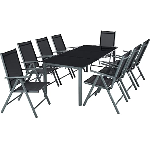 Tectake Aluminio Conjunto Muebles Para Jardin 8 1 Silla Adjustable Mesa Cristal Terraza Gris Oscuro No 402164