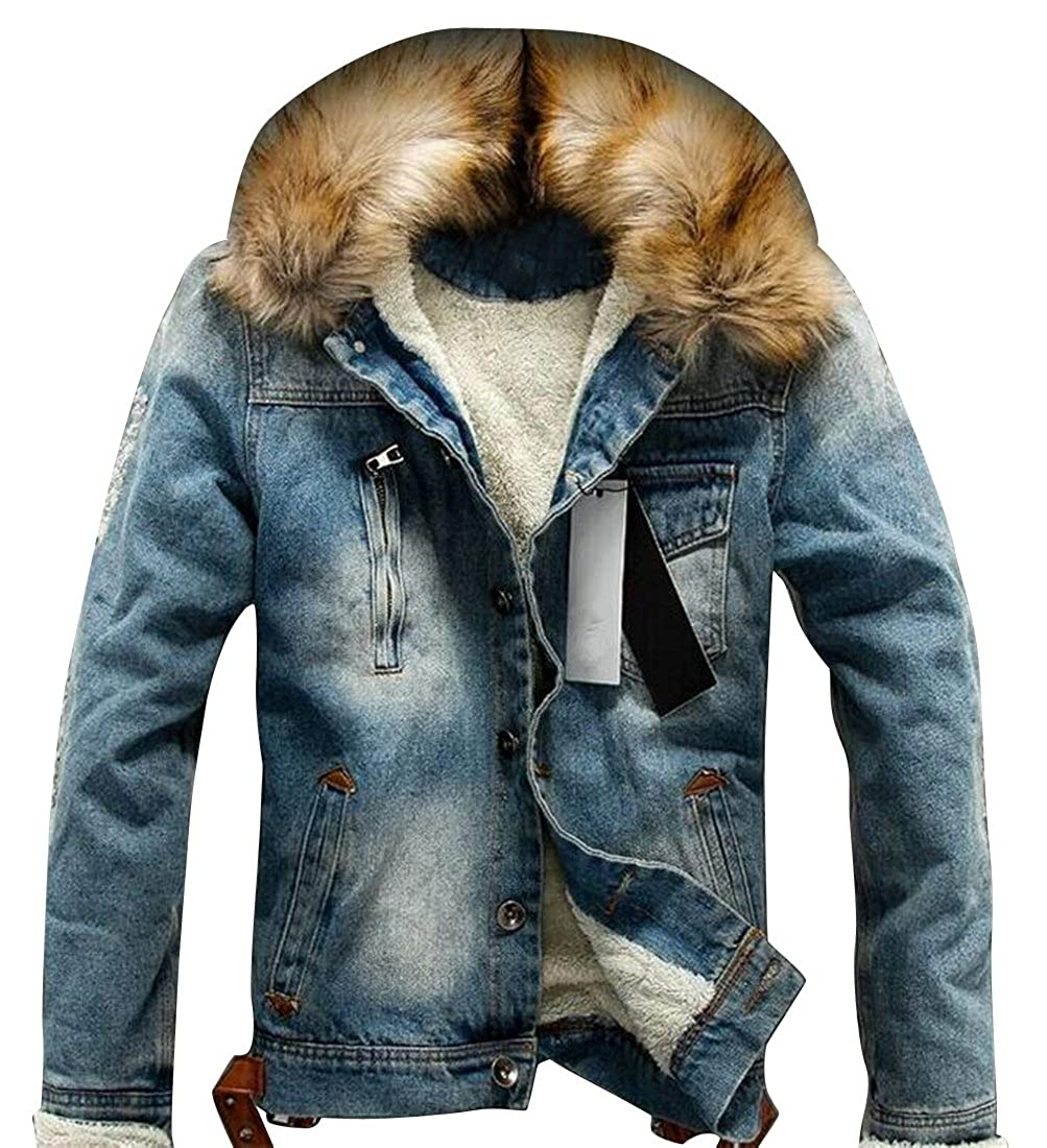 Fensajomon Men Casual Fleece Lined Faux Fur Collar Warm Denim Trucker Jacket Coat