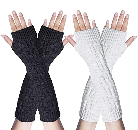 c3108f21f Loritta 2 Pairs Womens Long Arm Warmers Gloves Winter Knitted Fingerless  Mittens