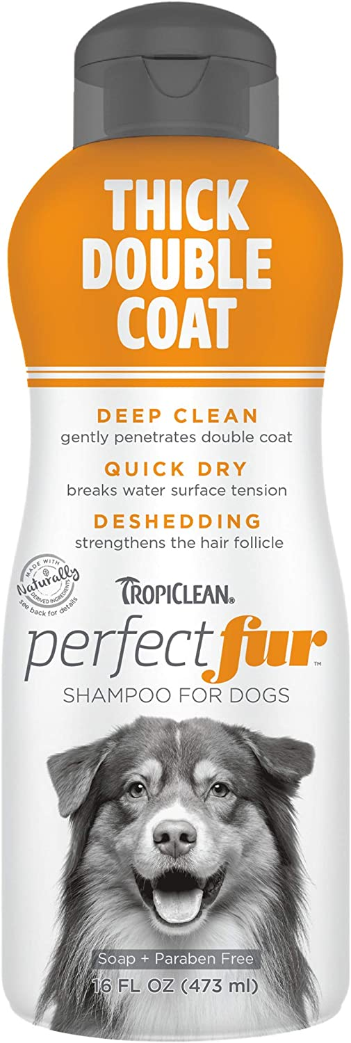 TropiClean PerfectFur Thick Double Coat Shampoo for Dogs, 16oz - Made in USA - Unique Breed Specific Shed Control Formula for Breeds Like Australian Sheperds - Naturally Derived