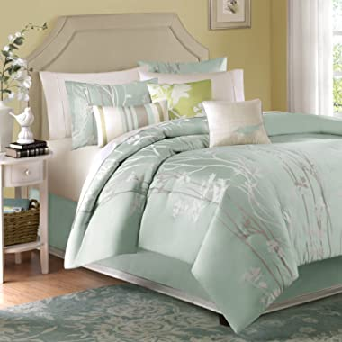 Madison Park Athena Queen Size Bed Comforter Set Bed in A Bag - Seafoam Green, Floral Jacquard – 7 Pieces Bedding Sets – Ultra Soft Microfiber Bedroom Comforters