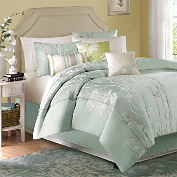Madison Park Athena Queen Size Bed Comforter Set Bed in A Bag - Seafoam  Green, Floral Jacquard – 7 Pieces Bedding Sets – Ultra Soft Microfiber  Bedroom ...