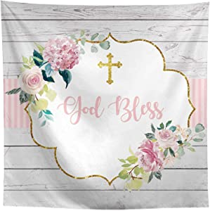 Allenjoy God Bless Baptism Grey Wood Backdrop Pink Floral Cross First Holy Communion Birthday Christening Party Cake Table Decor Banner 8x8ft Baby Shower Newborn Photoshoot Background Photo Booth Prop