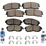 Detroit Axle - Front & Rear Ceramic Pads w/Hardware Brake Cleaner Fluid for 2010 2011 2012 2013 2014 2015 2016 2017 Chevy Equinox/GMC Terrain