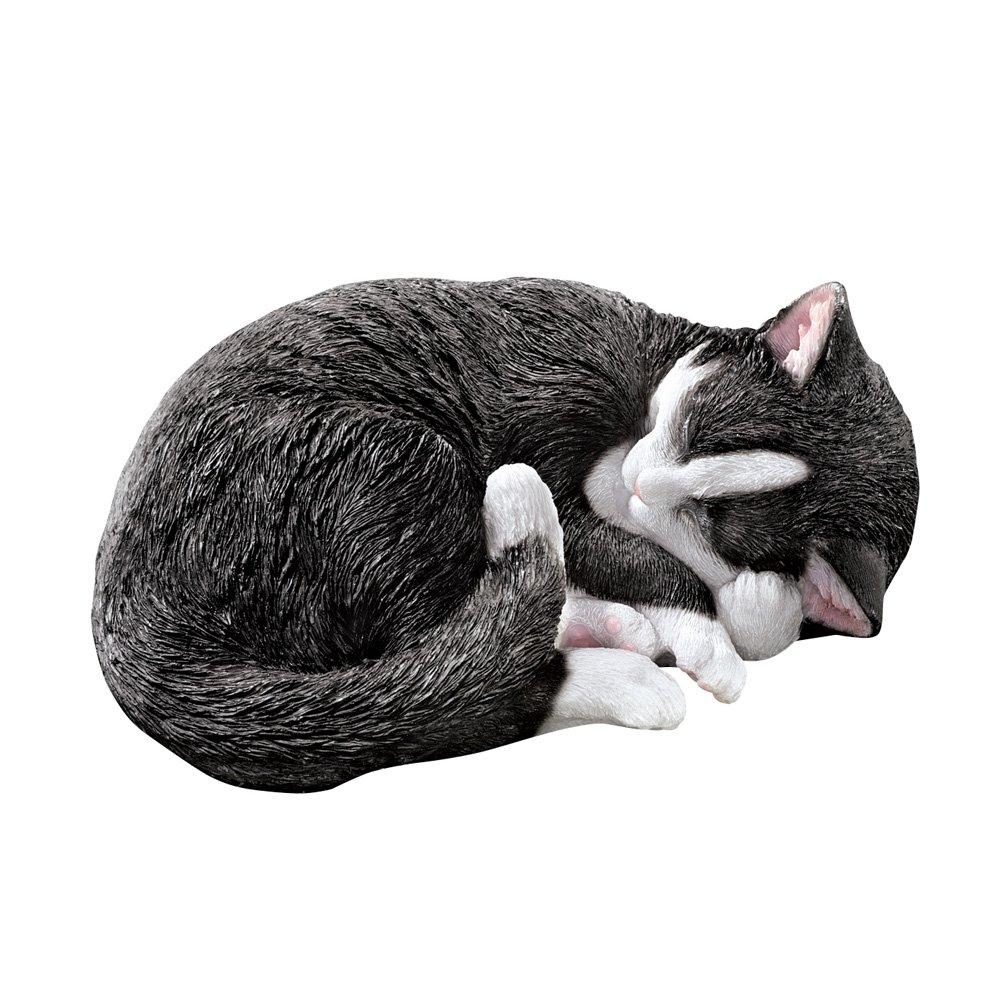 Collections Etc Sleeping Seymour Tuxedo Cat Statue Cute Outdoor Garden or Indoor Decoration