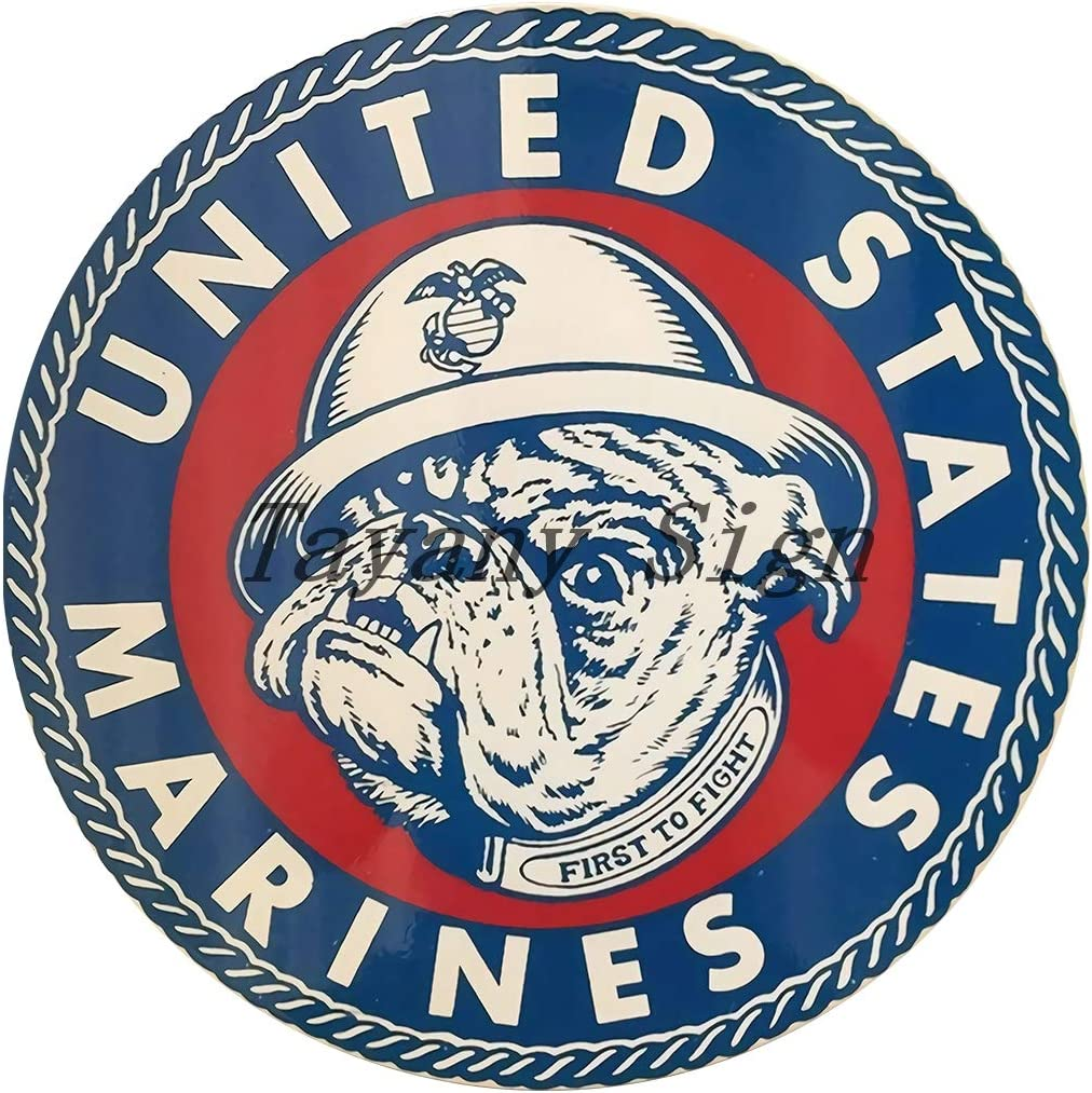 United States Marine Corps USMC Semper Fi Bulldog First To Fight Vintage Sign Round sign 12 IN x 12 IN Home Man Cave Decoration Tin Sign Metal Wall Poster PR-26