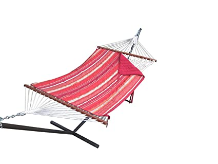 Patio Hammocks Cotton Rope Hammock With Steel Stand, Quilted Pad And Pillow