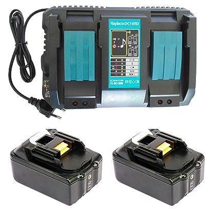 Reemplace para 2 baterías de 4000mAh 18V con luz LED Makita BL1840 BL1830 BL1815 Batería con reemplazo Makita 14.4-18V 4A Doble cargador rápido DC18RD ...