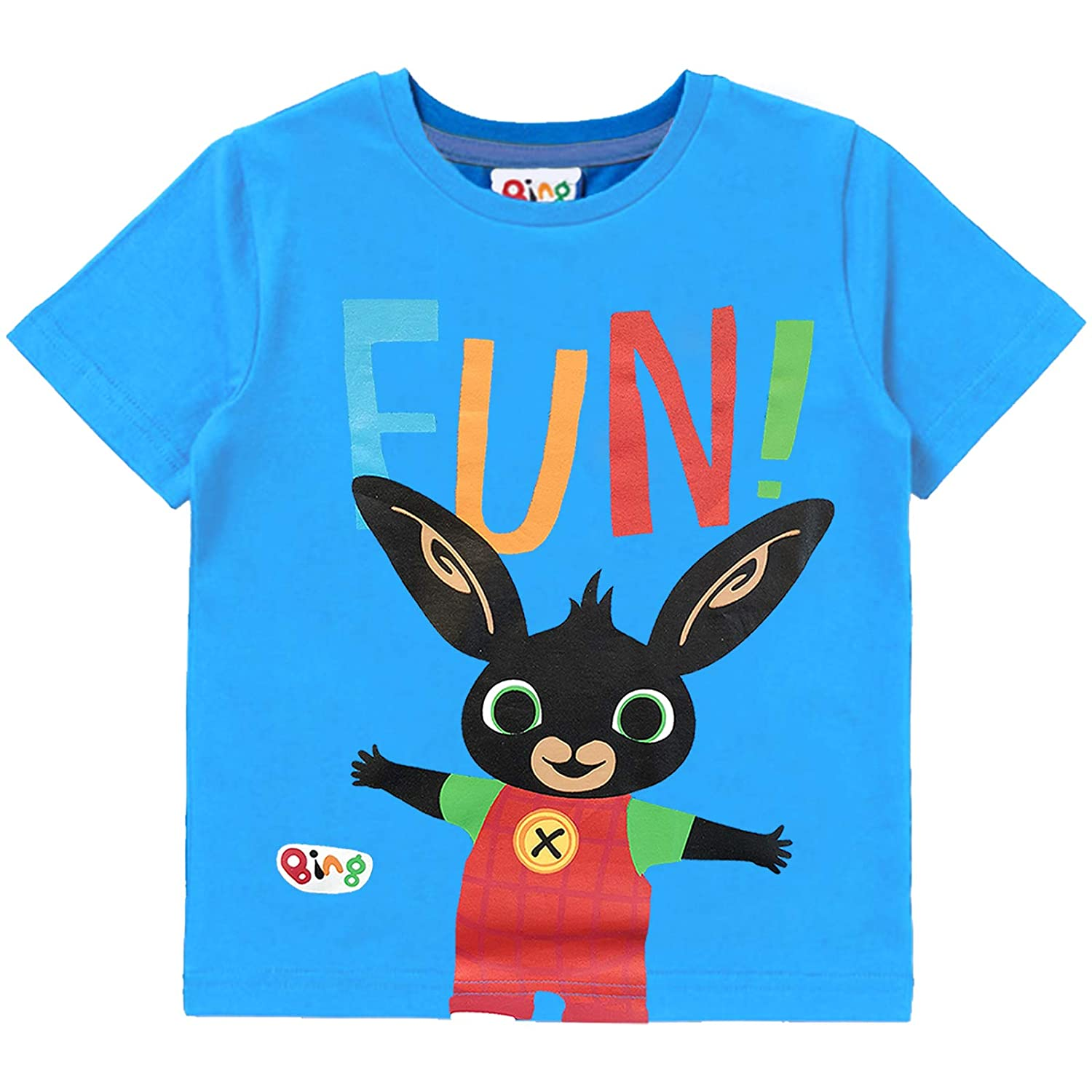 Short Sleeve Blue Cotton Top for Children Fun Tee for Boys or Girls from One of Their Favourite TV Shows Bing Bunny Kids Short-Sleeved T-Shirt Toddlers
