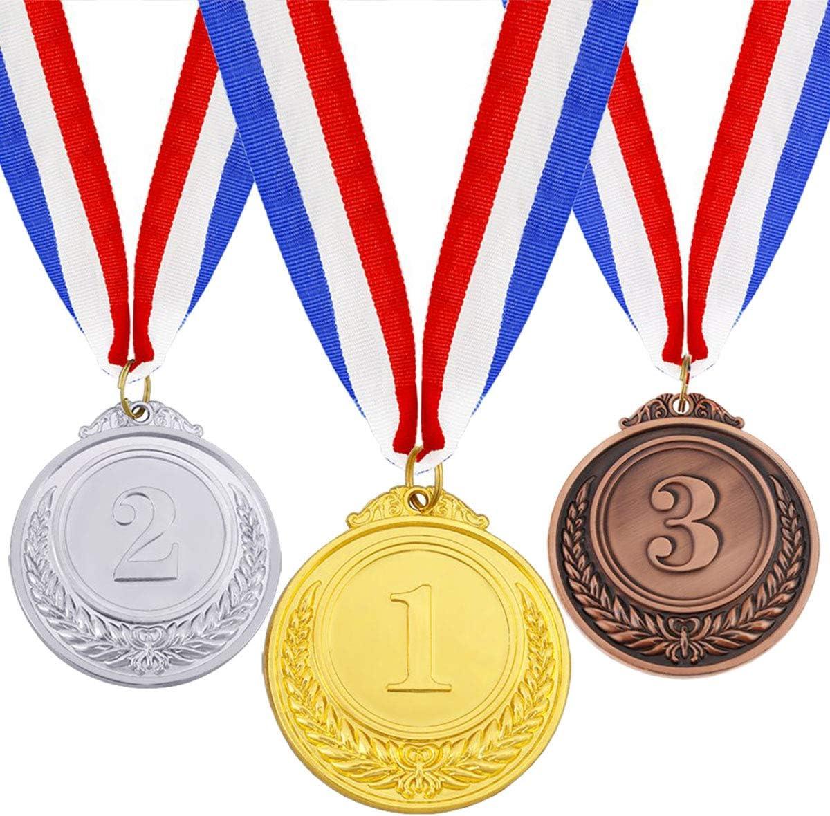 ExeQianming Medallas de premio de bronce con cinta para el cuello, medalla de metal de estilo olímpico, 3 piezas
