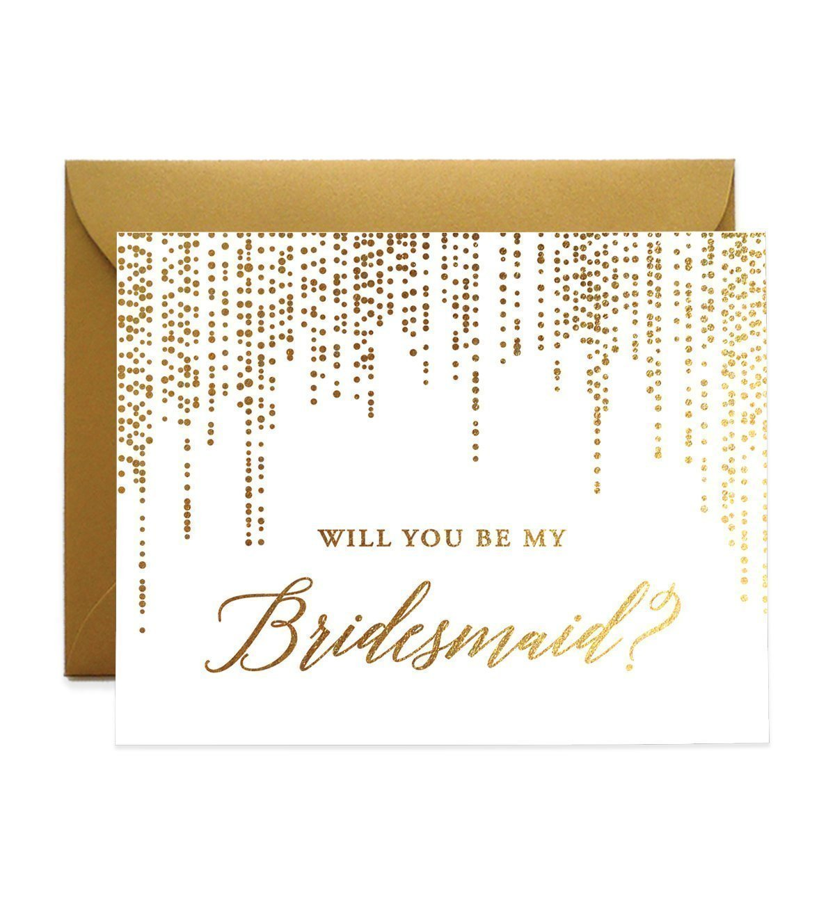 Gold Foil Bridesmaid Proposal Cards Will You Be My Brides maid Box Pack (Set of 5) Goldfoil Foiled Five Engaged Wedding Bridal Party Cards Antique Gold Shimmer Metallic Envelopes CW0006-1