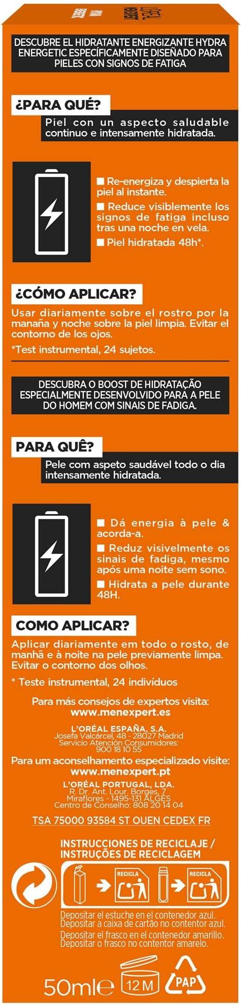 LOréal Paris Men Expert - Hydra Energetic hidratante, energizante, anti fatiga - 115 g: Amazon.es: Belleza