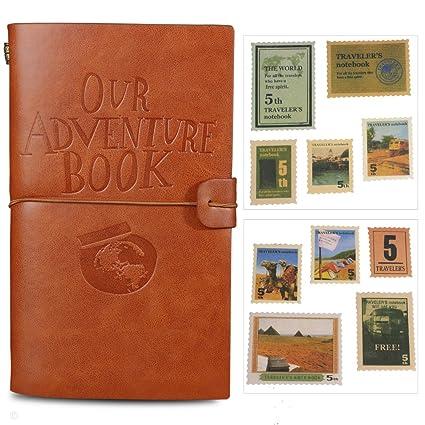 4b6cffe5ae Agenda diario giornaliero Our Adventure Book, in pelle, ricaricabile, con  18 porta carte e 18 timbri ...