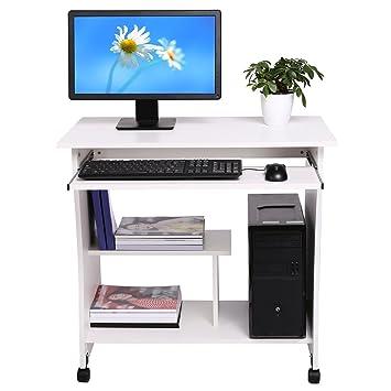 befied Escritorio de la Computadora con Portateclado Mesa de Ordenador de Madera con 4 Ruedas Moderna Escritorio para hogar o Oficina (80 × 40 × 78.5 cm): ...