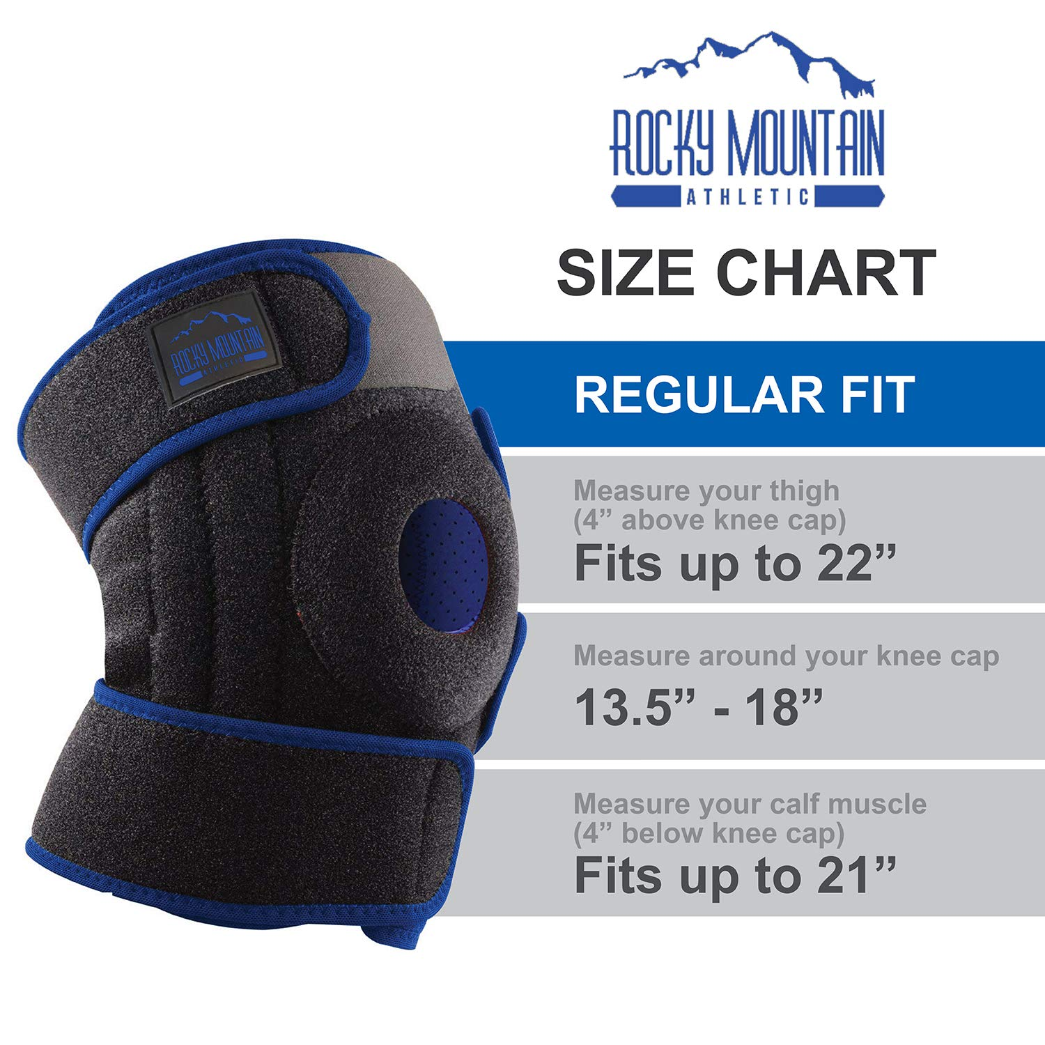 Knee Brace Support Sleeve Therapy Wrap Adjustable Patella Tendon Stabilizer for Meniscus Tear, Bursitis, Runners, Arthritis, Jumpers, ACL, MCL, Joint Injuries, Ligament Sprains, Swelling, & All Sports by Rocky Mountain Athletic (Image #4)
