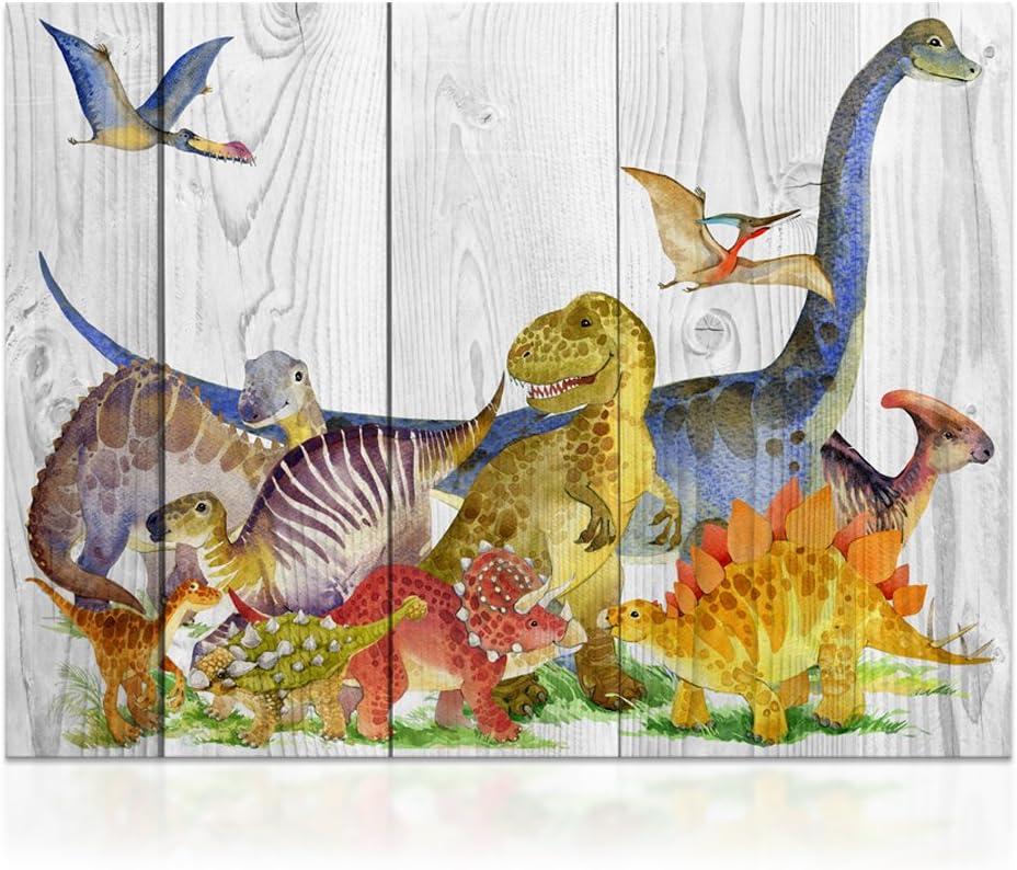 Kolo Wall Art Kids' Room Wall Decor Retro Vintage Dinosaur Animals Canvas Wall Art Decor Wood Background Double View Canvas Prints Home Wall Decoration (24