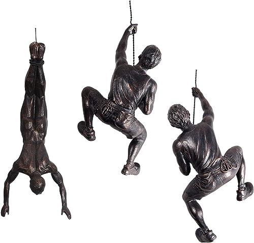 Ibnotuiy Men Climbing Wall Sculpture 3Pcs/Set Resin Art Wall Sculptures Home Decor Small Vintage Statue Figure Kit
