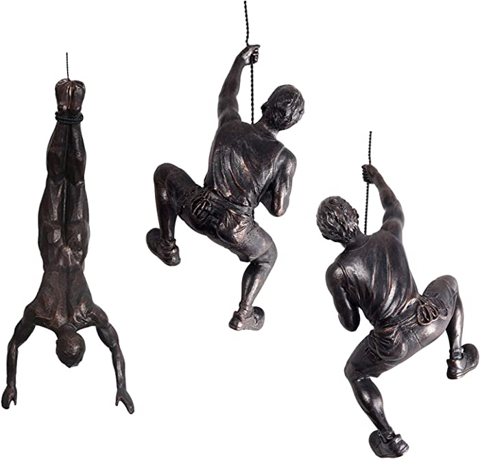 Ibnotuiy Men Climbing Wall Sculpture 3Pcs/Set Resin Art Wall Sculptures Home Decor Small Vintage Statue Figure Kit for Living Room/Bedroom/Office/Garden (Copper Black)