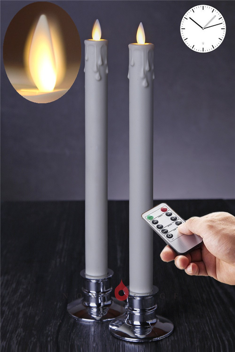 Flameless Taper Candle,Remote Control Dripless Timer Candles Ivory with Candleholders, 11-inch,2-Piece