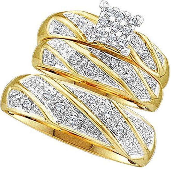 amazoncom 030 carat ctw 10k yellow gold round cut diamond men u0026 womenu0027s cluster engagement ring trio set 13 ct jewelry - Trio Wedding Ring Sets